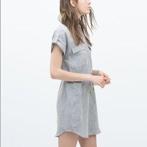 NEW ZARA POPLIN TAILORED SHIRT DRESS TUNIC